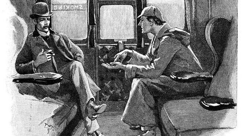 Ilustración del británico Sidney Paget de Sherlock Holmes y su ayudante Watson.