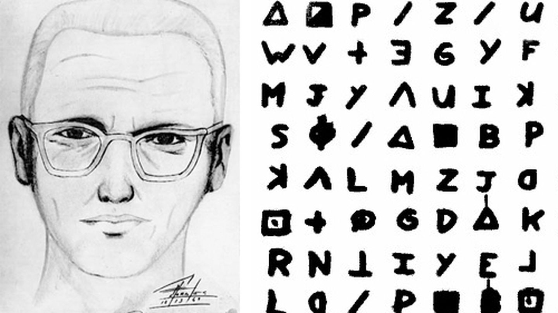 El asesino del Zodiaco junto a uno de los extraños pictogramas que enviaba a los medios.