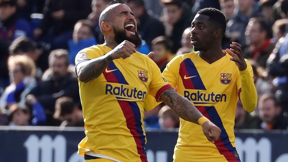 Foto: Arturo Vidal marcó el gol de la victoria del FC Barcelona en Leganés. (EFE)