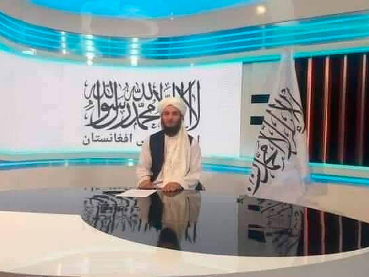 Foto: La shahada preside los estudios de informativos de la televisión nacional afgana (Twitter)
