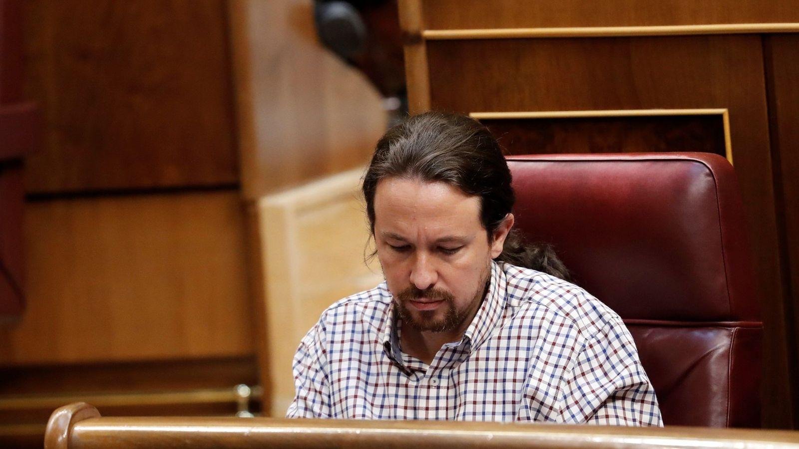 Foto: El líder de Unidas Podemos, Pablo Iglesias, en el Congreso de los Diputados. (EFE)