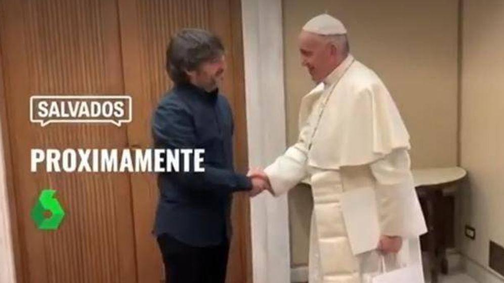 Foto: El papa Francisco y Jordi Évole, en un avance de 'Salvados'. (Atresmedia)