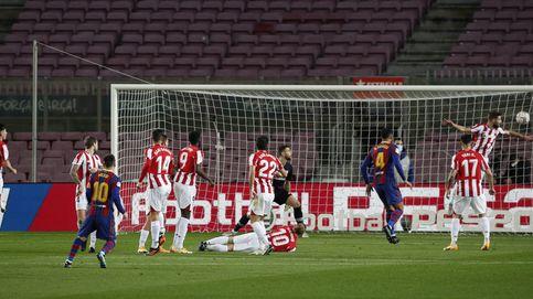 Messi se gana el sueldo con un gol de falta que vale tres puntos ante el Athletic Club (2-1)