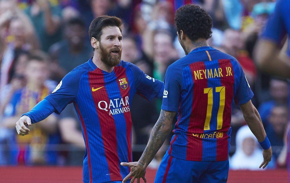 Foto: En la imagen, Messi y Neymar celebran ungol. (EFE)