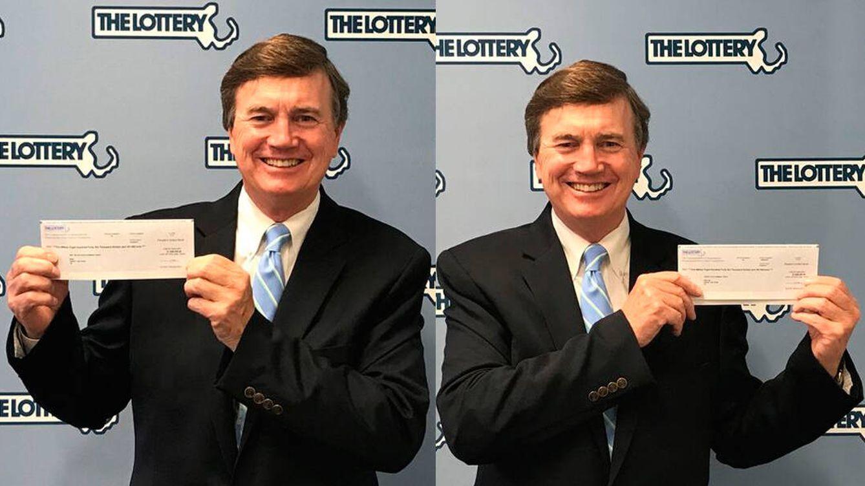 Foto: David Spillane, el abogado que siempre sale en las fotos de la lotería (Lotería de Massachusetts)
