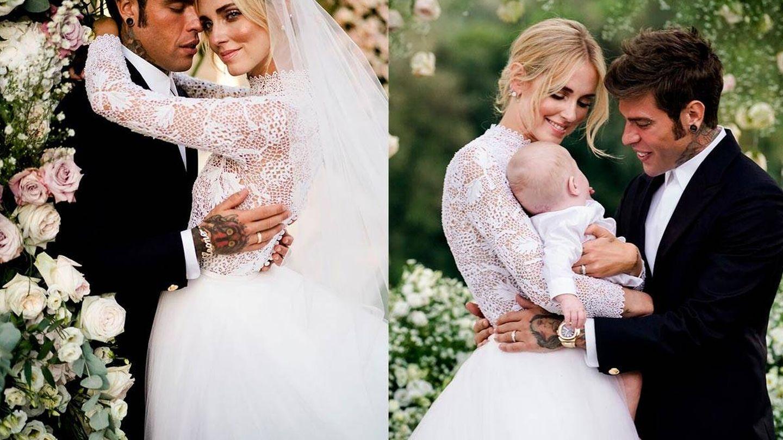 A la izquierda, Chiara Ferragni y Fedez. A la derecha con su hijo Leone. (David Bastianoni / Cortesía de Dior)