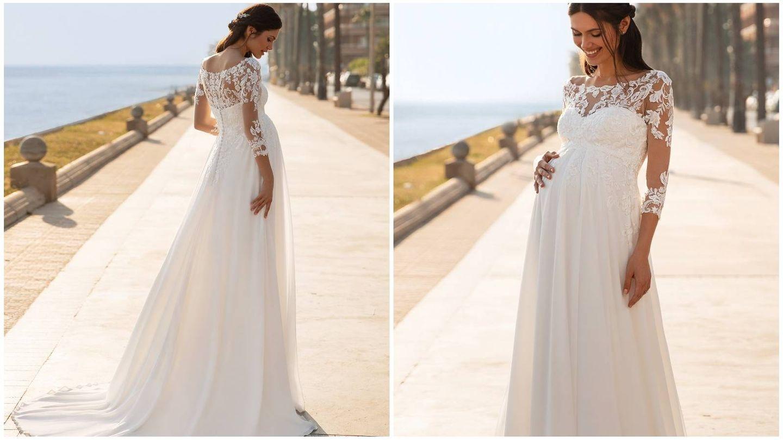 Vestido de novia para embarazadas de Pronovias. (Cortesía)