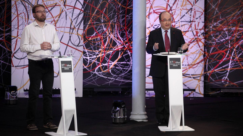 Vidal Aragonés (CUP) y Miquel Iceta (PSC) durante el debate. (LaSexta)