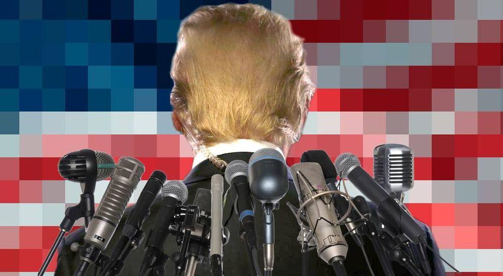 Foto: Donald Trump y la prensa (montaje: Carmen Castellón).