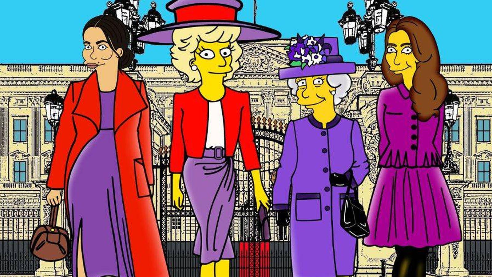"""Foto: La familia real británica, """"simpsonizada"""". (IG)"""