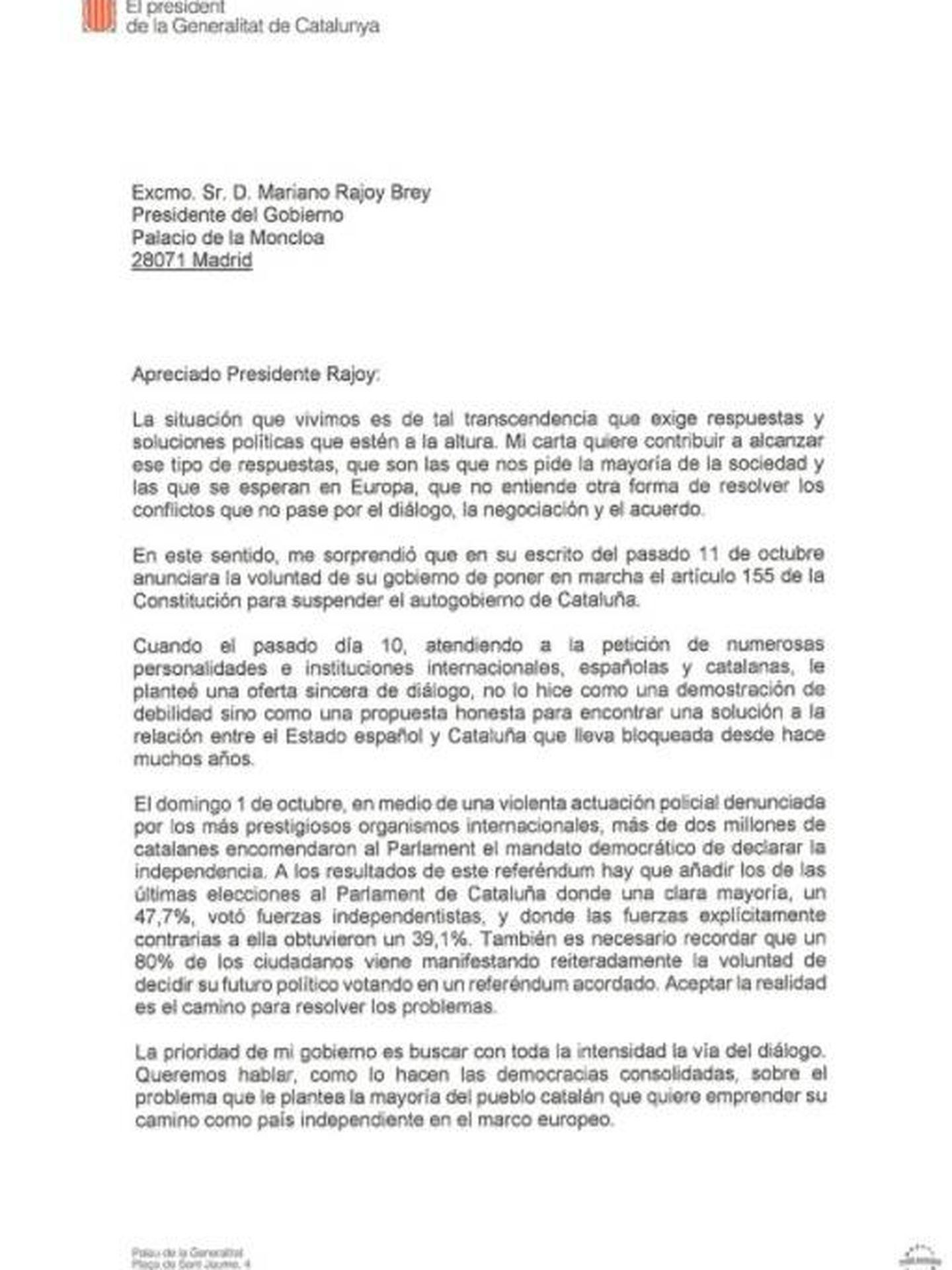 Esta es la carta de Puigdemont a Rajoy.