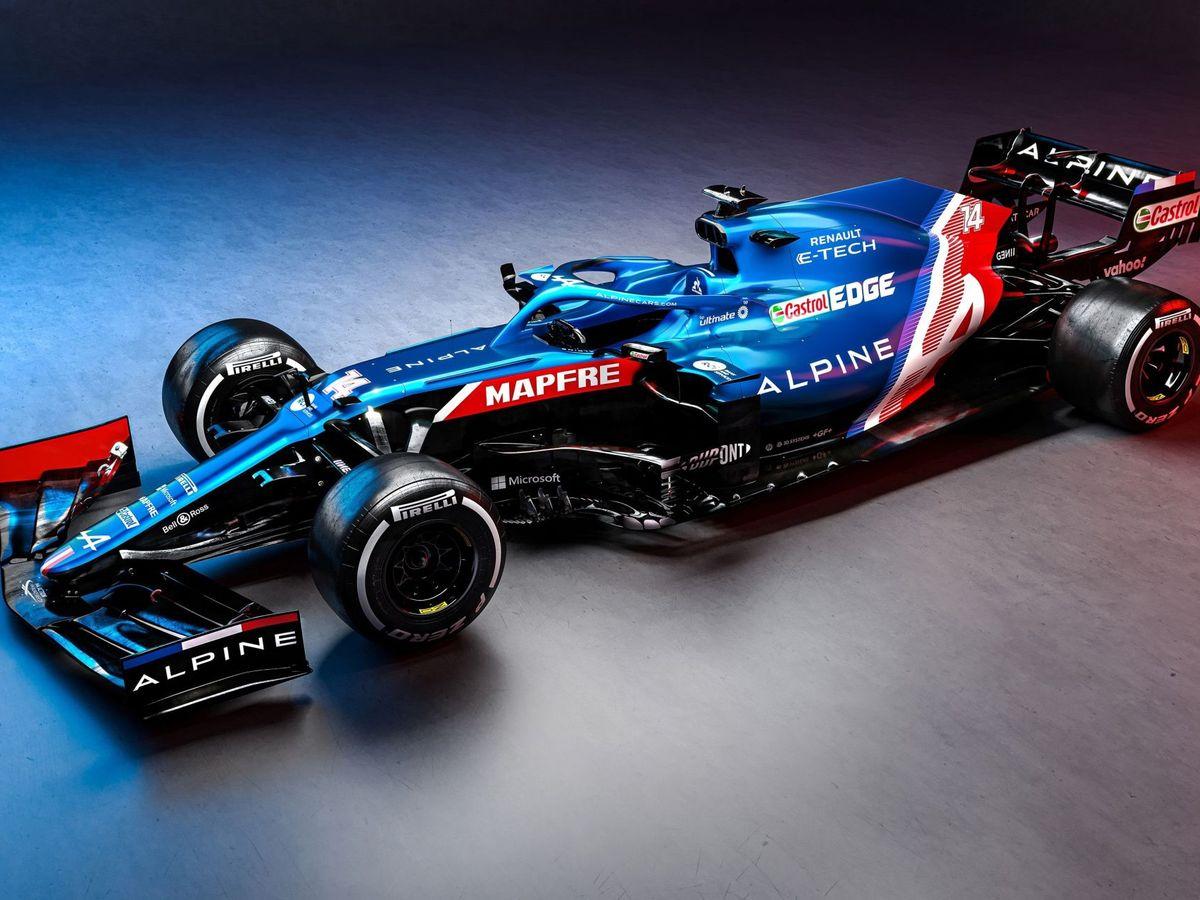 Foto: El Alpine de Fernando Alonso en su presentación. (EFE)