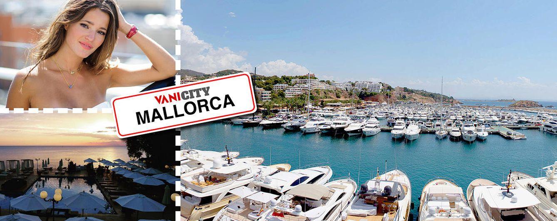 Foto: Malena Costa junto a imágenes de Mallorca en un fotomontaje realizado en 'Vanitatis'