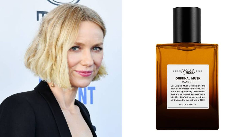 Naomi Watts utiliza el perfume  masculino Kiehl's Original Musk Eau de Toilette.