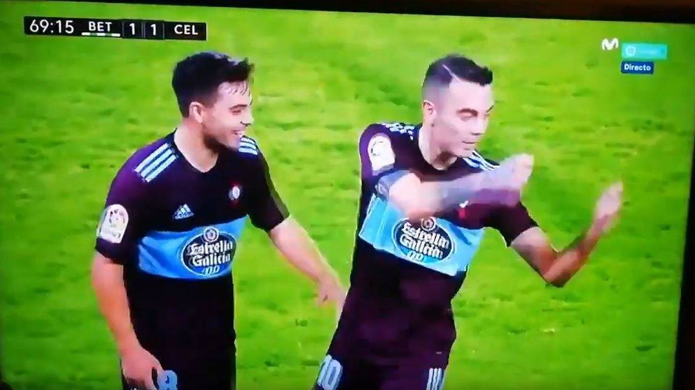 Foto: Iago Aspas (Celta de Vigo) celebra su gol como había prometido a David Broncano en su entrevista en 'La Resistencia'