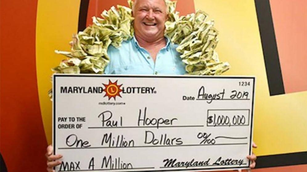 Foto: Paul Hooper Jr., celebrando su premio. Foto: Maryland Lotteries