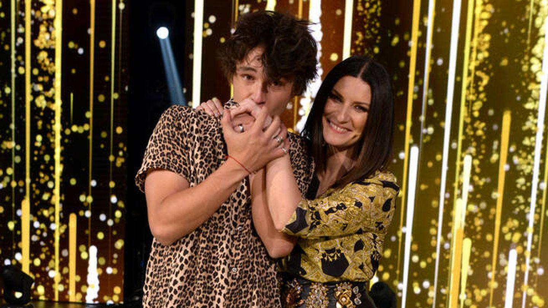 Pol y Laura Pausini, en 'Factor X'. (Mediaset)
