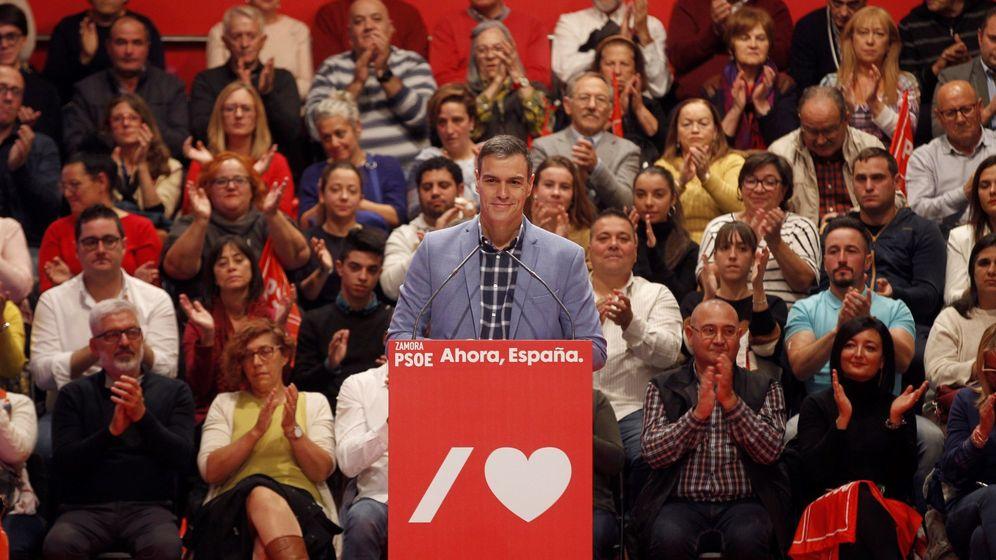 Foto: Pedro Sánchez en un acto de campaña. (EFE)