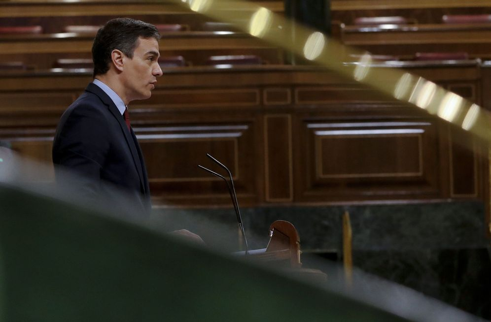 Foto: Pedro Sánchez, este 20 de mayo, durante su intervención en el pleno del Congreso. (EFE)
