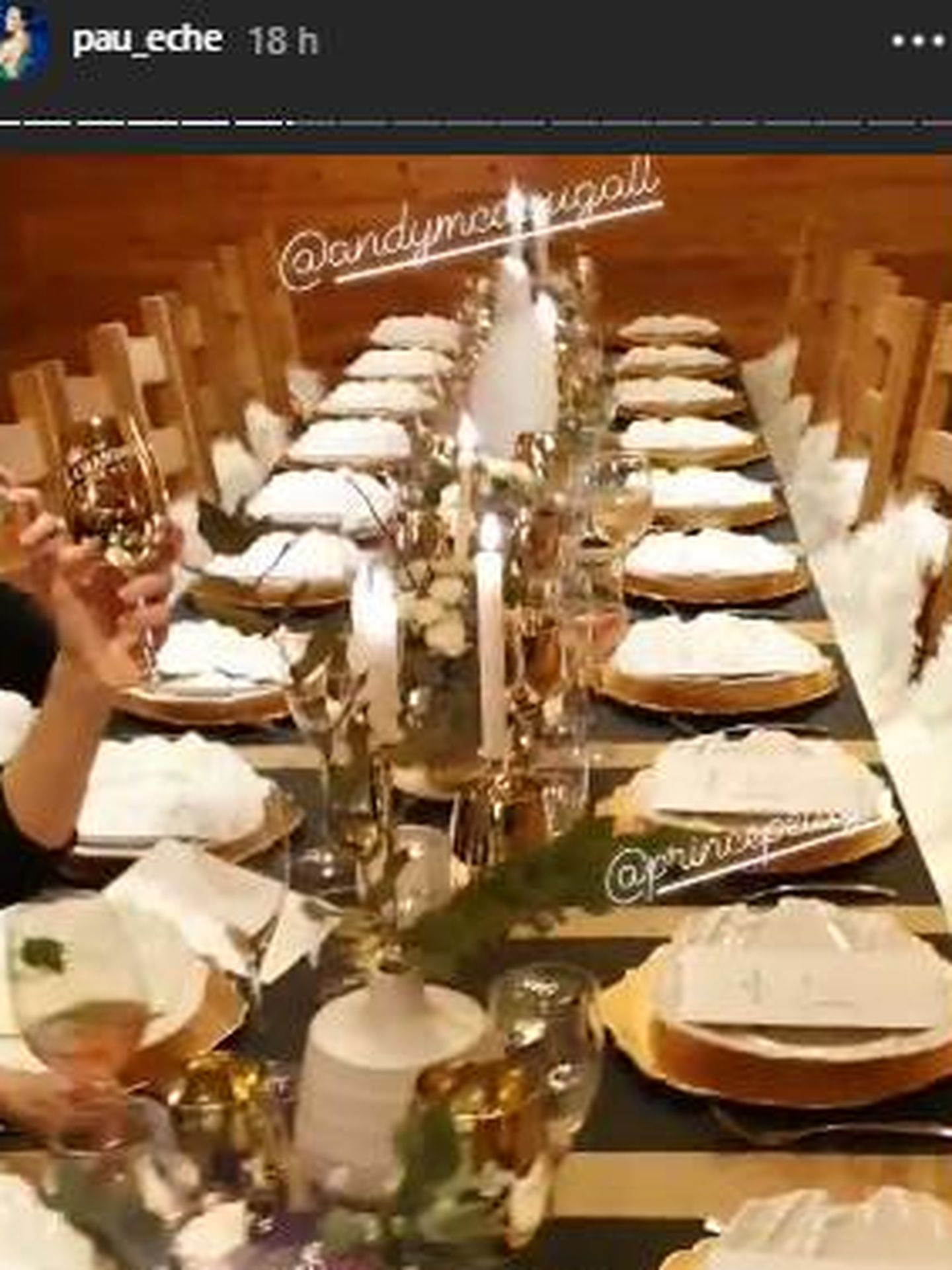 La cena de la que han disfrutado en Baqueira Beret. (IG)