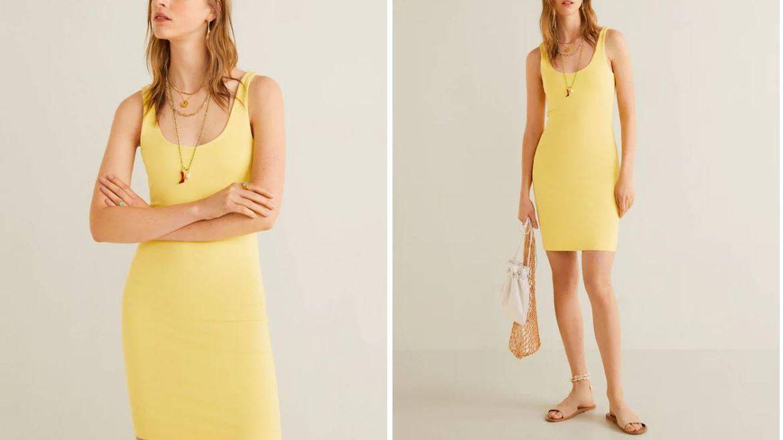 Vestido amarillo de Mango (22,99 €).