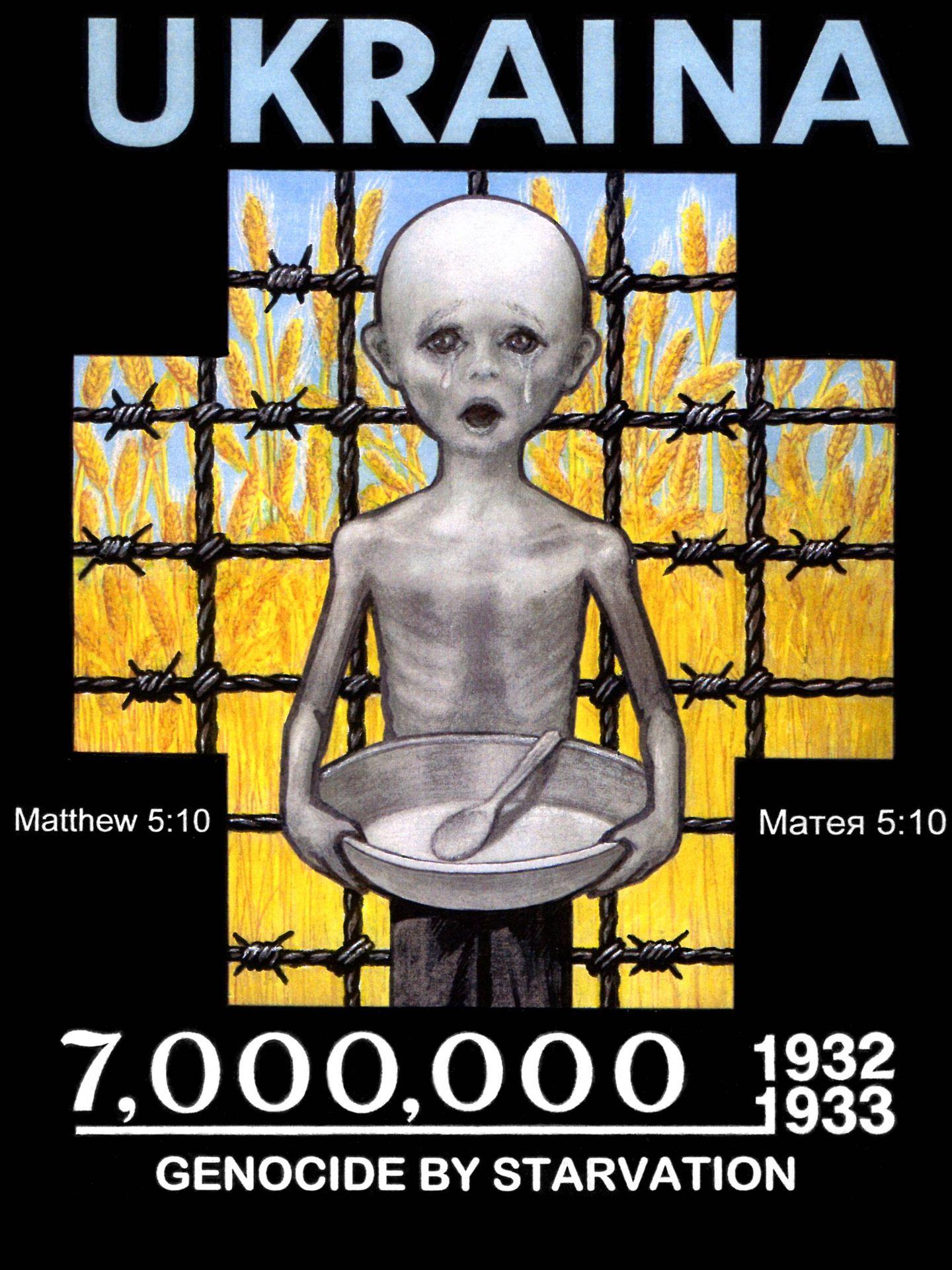 Cartel conmemorativo del Holodomor de Leonid Denysenko.