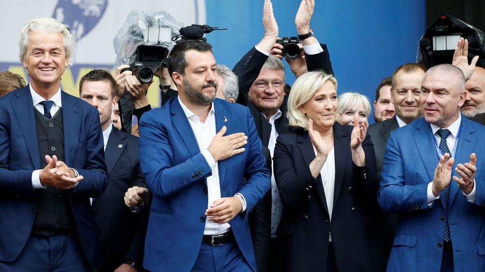 Foto: Geert Wilders, Matteo Salvini y Marine Le Pen, entre otros. (Reuters)