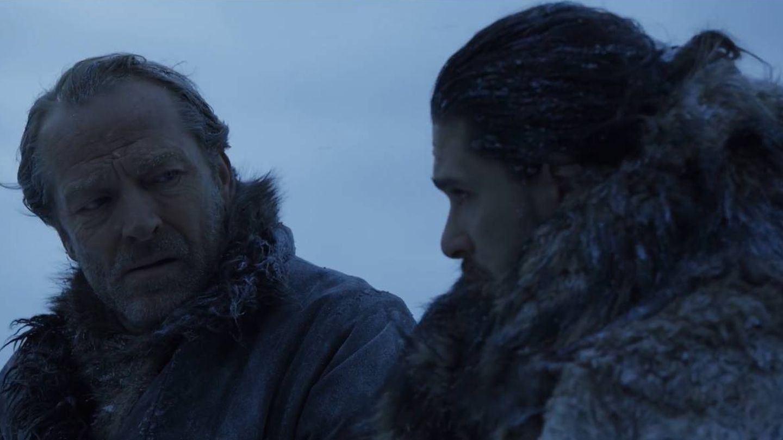 Imagen del sexto capítulo de la séptima temporada con Ser Jorah y Jon Nieve