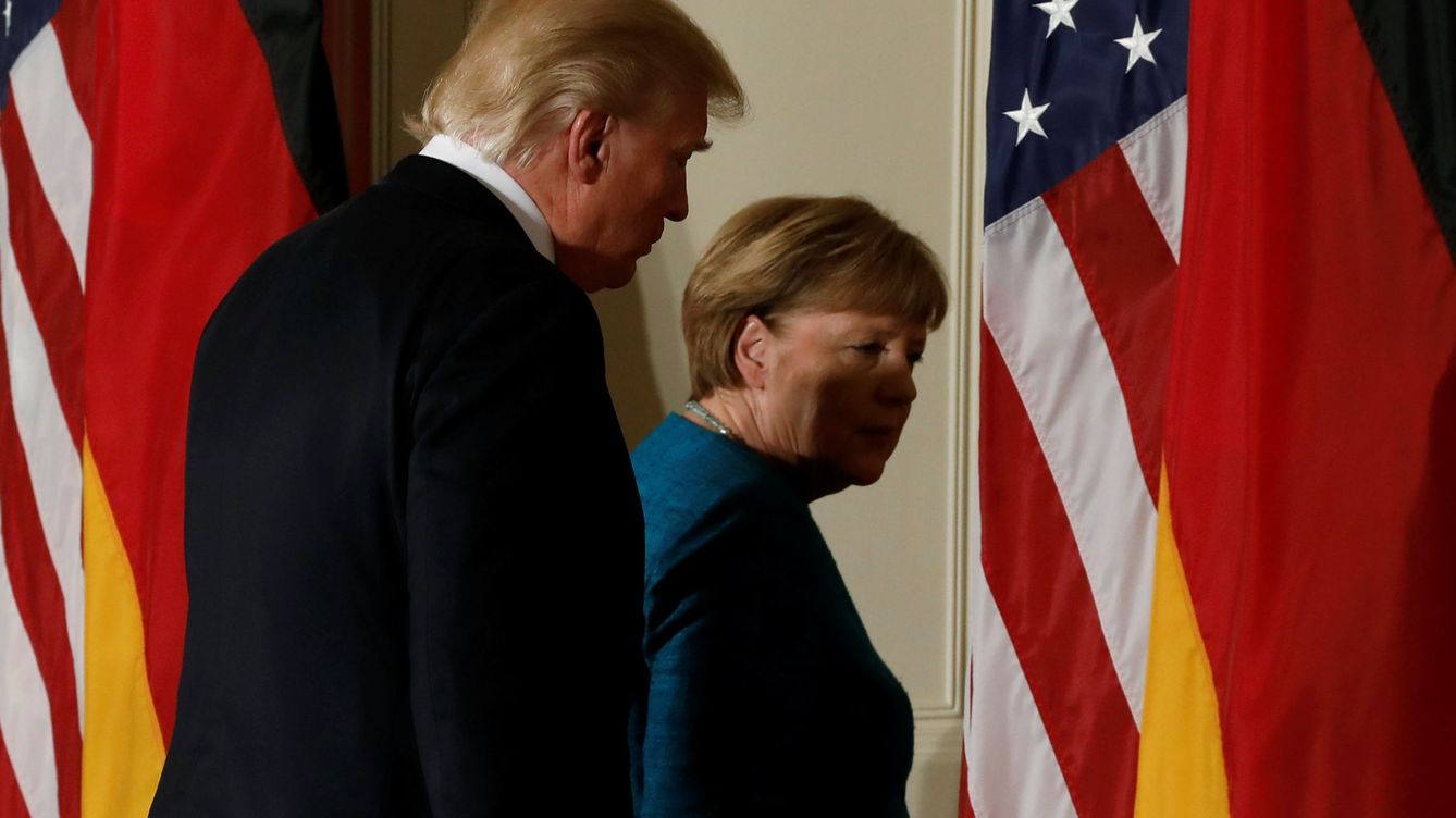 Foto: Merkel y Trump hoy en Washington. (Reuters)
