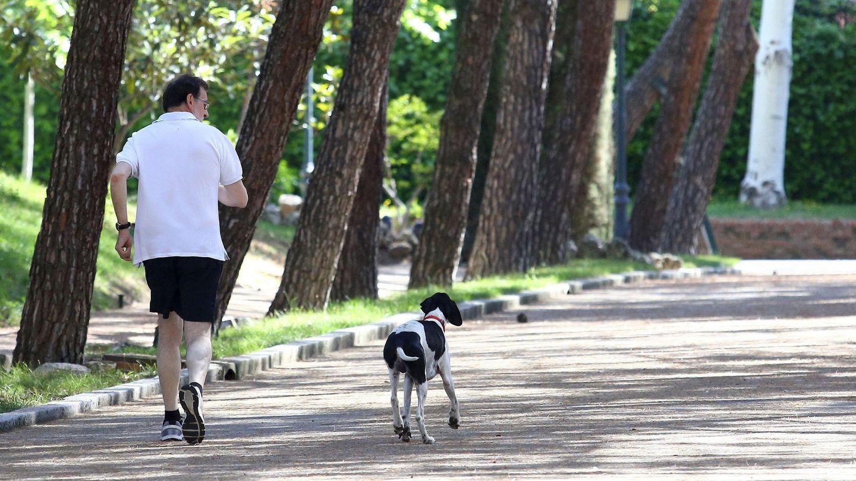 Rajoy, en la jornada de reflexión de las elecciones de junio de 2016, con su perro Rico. (EFE)