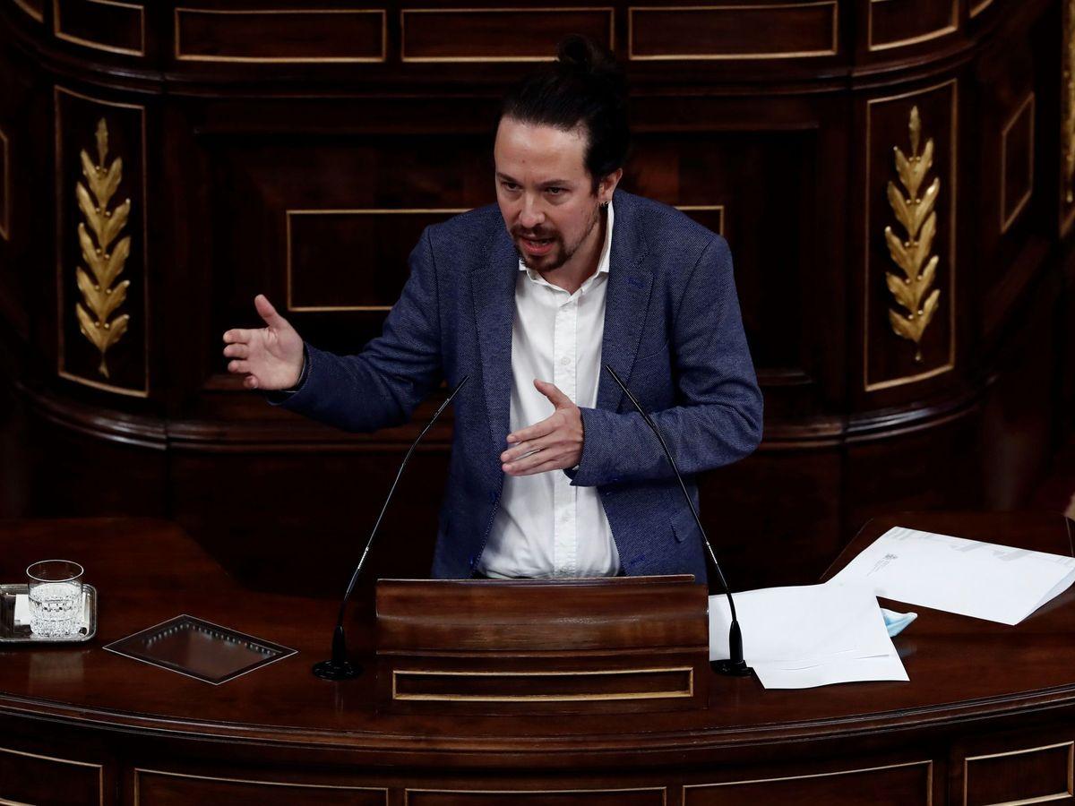 Foto: El vicepresidente segundo del Gobierno, Pablo Iglesias, durante su intervención en la segunda sesión del debate de moción de censura. (EFE)