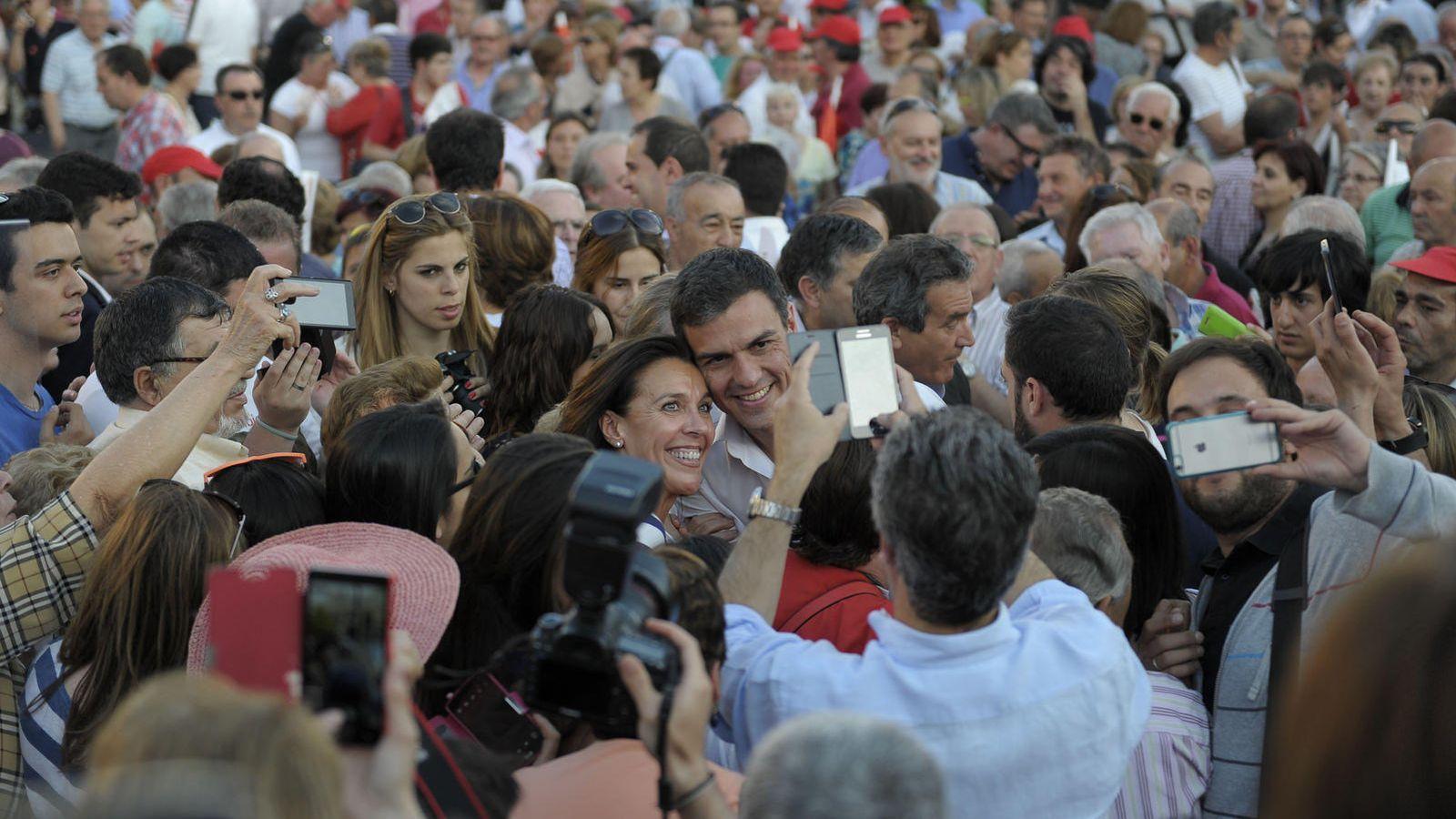 Foto: Pedro Sánchez, durante un mitin en Valladolid en la campaña del 24-M. (FLICKR PSOE)