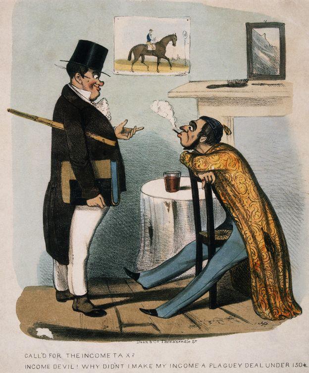 Foto: Dibujo satírico del siglo XIX de un inspector de hacienda. (Corbis)
