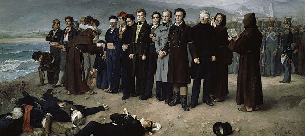 Foto: Fusilamiento de Torrijos en la playa de San Andrés (Málaga), por Antonio Gisbert Pérez, en 1888. (Museo del Prado)