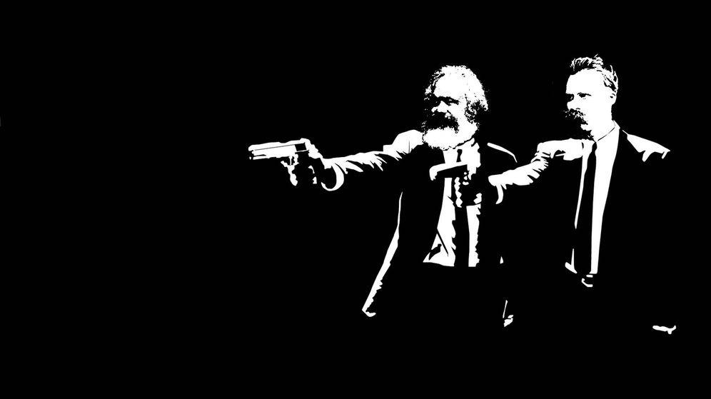 Foto: Karl Marx y Friedrich Nietzsche en un fotomontaje inspirado por 'Pulp Fiction'