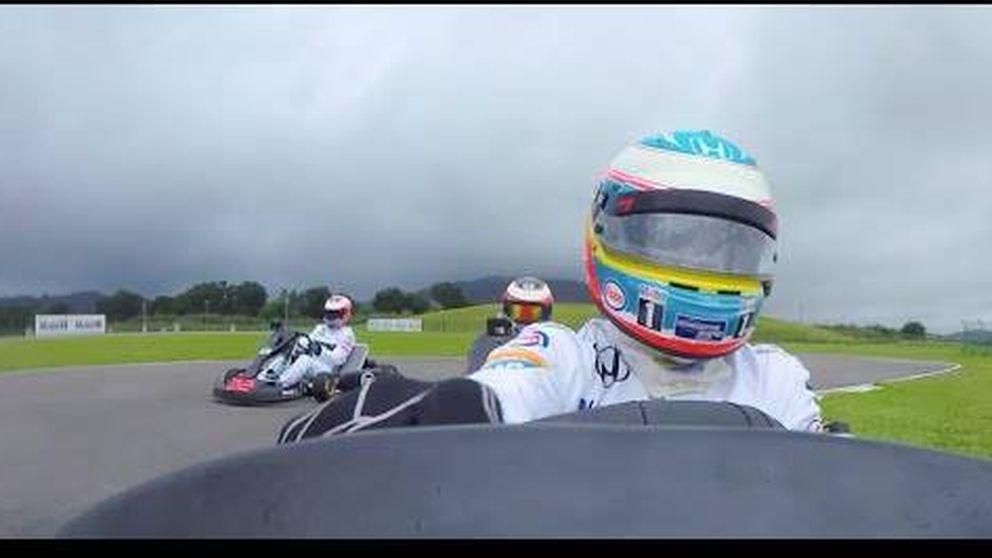 Así terminó la carrera de karts entre Alonso, Button, Hakkinen, Coulthard y Vandoorne.