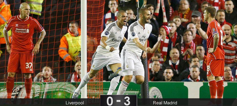 El Real Madrid sí camina solo en Anfield tras una exhibición antes del Clásico del sábado