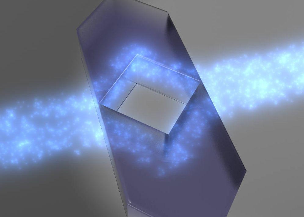 Foto: Recreación del funcionamiento de la capa de invisibilidad ideada por los investigadores (FOTO: UPNA/UPV).