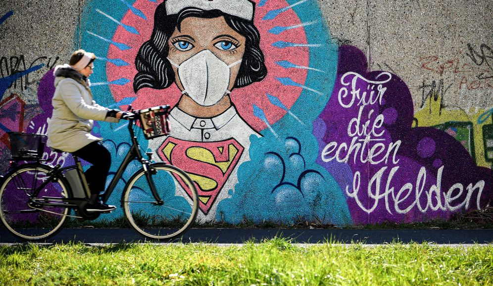 Foto: Grafitis sobre el coronavirus en Hamm, Alemania. (EFE)
