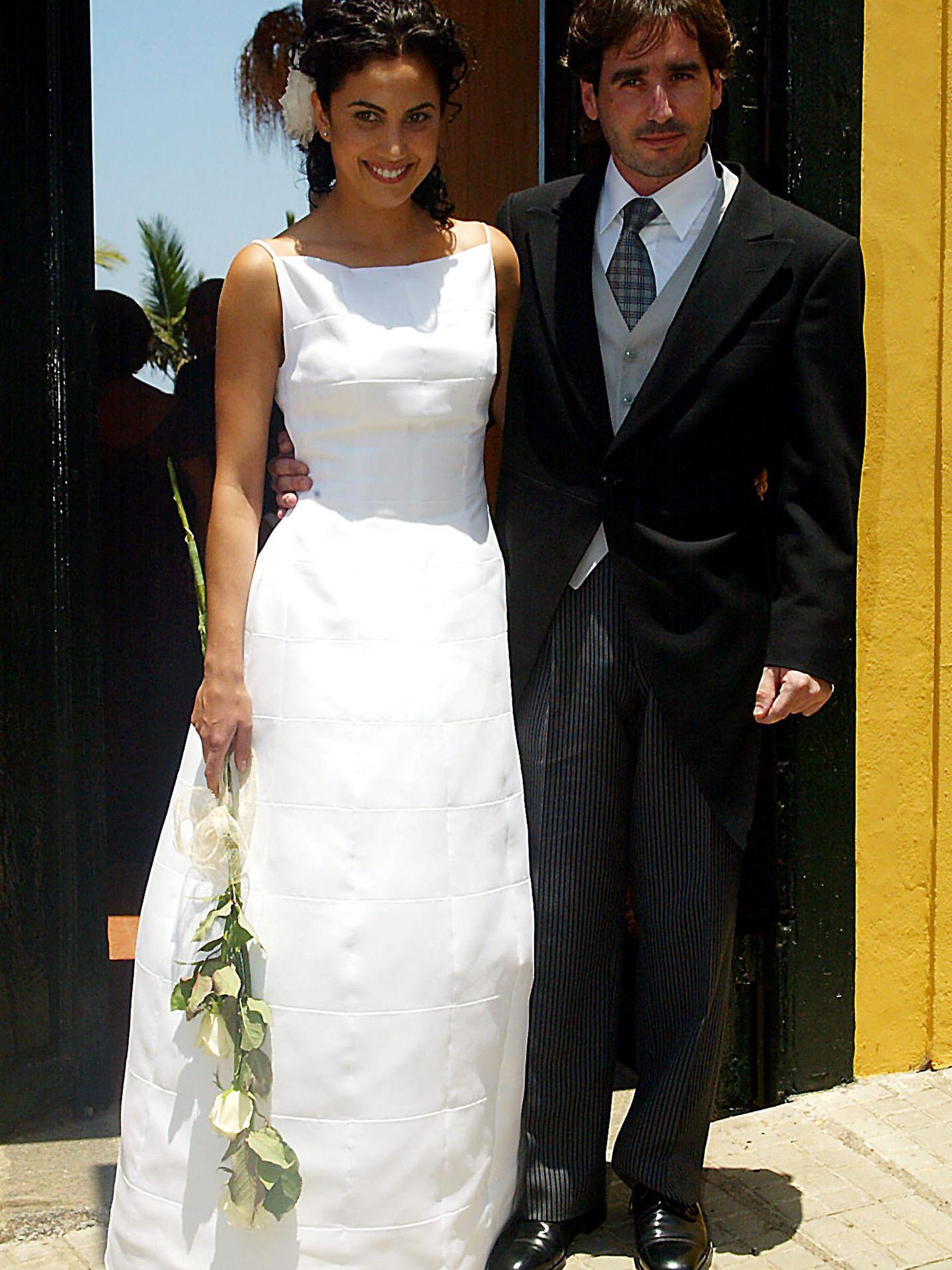 Jacobo Martos y Toni Acosta el día de su boda en Tenerife (2002)