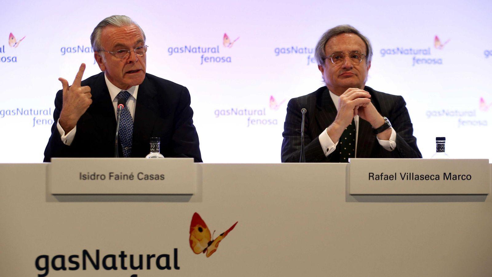 Foto: El presidente Gas Natural Fenosa, Isidro Fainé (i), y el consejero delegado, Rafael Villaseca (d). (EFE)