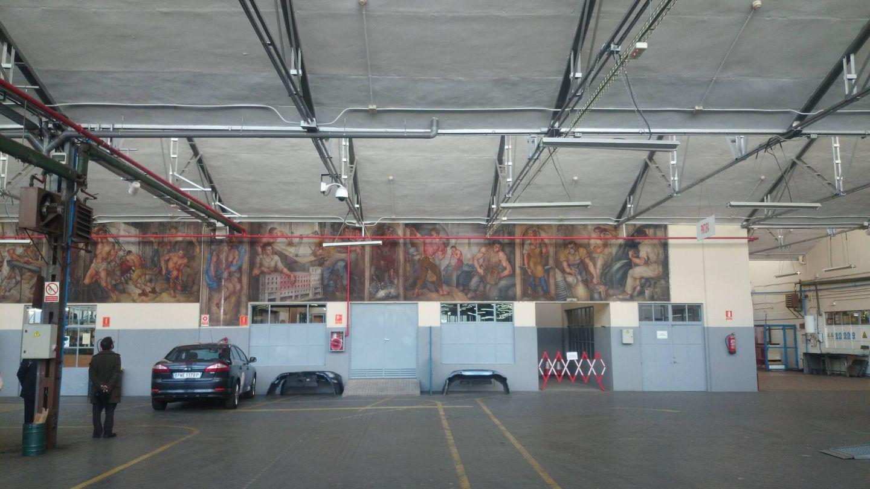 Mural protegido del Parque Móvil. (Cedida)