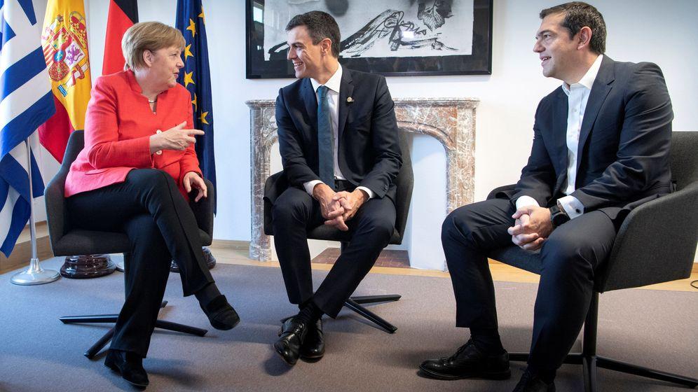 Foto: Reunión entre Sánchez, Merkel y Tsipras sobre migración. (Reuters)