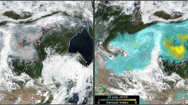 Foto de satélite que muestra el índice de aerosol superpuesto (derecha) y los picos de fuego (izquierda) sobre Siberia, Rusia, en esta imagen de las redes sociales obtenida por Reuters.