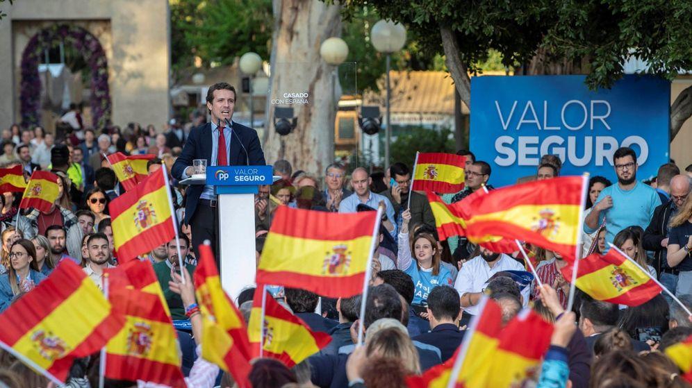 Foto: Pablo Casado en su último mitin en Murcia. (EFE)