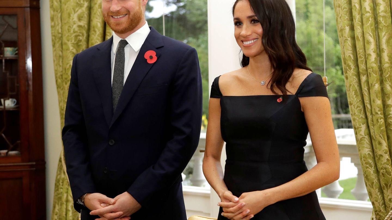 Meghan y Harry, durante la recepción. (Reuters)