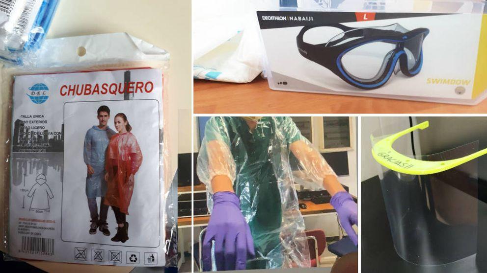 Chubasqueros, gafas de buceo y gorros de ducha: la sanidad de Madrid, al límite