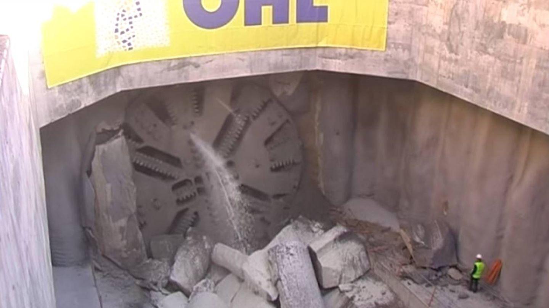 La tuneladora trabajando en el túnel de Cercanías de Móstoles y Navalcarnero, en una imagen de archivo.