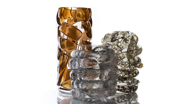 Foto: Piezas de la última colección de cristal de Roberto Cavalli.