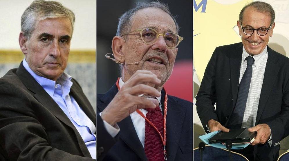 Foto: Ramón Jáuregui, Javier Solana y Nicolás Redondo, los candidatos propuestos por Ciudadanos a Sánchez. (EC)